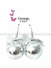PAIR OF CHRISTMAS BAUBLE HOOK EARRINGS XMAS SILVER WITH SNOWFLAKES GLITTER & BOW
