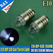 2x 3V DC E10 Led Flashlight Replacement Bulb Torches Dashboard Lamp Light  White