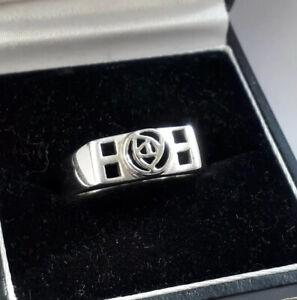 Kit Heath Sterling Silver Celtic Rose/Mackintosh Band Ring. Size O. VGC