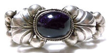 MADE IN MEXICO LARGE HEAVY STERLING SILVER AMETHYST FLOWER BALL BEAD BRACELET
