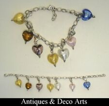 Sterling 925 Silver Charm Bracelet with 7 Murano Glass Heart Charms