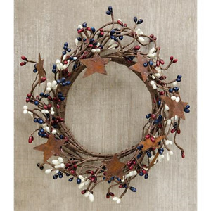 """Country-Farmhouse-BURGUNDY-IVORY-NAVY-PIP BERRY-RUSTY STAR-Candle Ring-Wreath-4"""""""