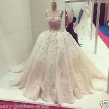 New Luxury Pink Flowers Wedding Dresses Sleeveless Lace Puffy Bridal Gown Custom