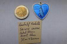 N°1 Pendentif Medaille Gros Coeur Sainte SARAH  SARA gitan émail bleu 32 x 30 mm