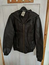 Gents Topman Brown Leather Hooded Bomber Jacket. Size Small.