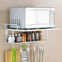 Household 2 Layers Aluminum Microwave Oven Wall Shelf Rack with Removable Hooks