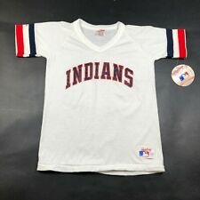 Vintage Cleveland Indians Youth Boys M White Jersey V Neck Made In USA NWT