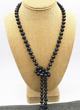 6-7mm Tahitian Real Black Akoya Freshwater Cultured Pearl Long Necklace 60''