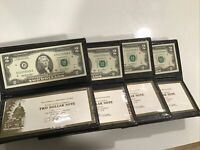 (4) Consecutive Serial Run $2 Dollar Bills Notes World Reserve Monetary Exchange
