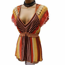KAREN MILLEN Brown Orange Yellow Stripe Fine Knit Crochet Top Blouse SZ-2  8-10