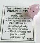 Ganz Good Luck & Fortune Prosperity Pig Figurine Pink Mini Glass w/Card