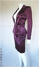 GIVENCHY Couture Paris Peplum Wiggle Lussureggiante Densa Satin 2 pezzi Giacca Gonna