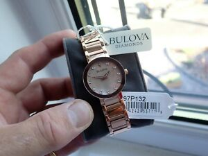 Bulova Diamonds Mother of Pearl Ladies Watch G P Case 97P132 Tag Boxed New MINT