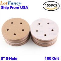 5'' inch 5 Hole 100Pcs Hook and Loop Orbital Sandpaper Sanding Discs 180 Grit