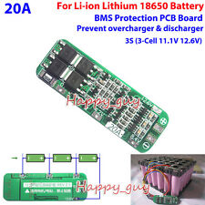 3S 20A 18650 Li-ion Lithium Battery Charger BMS Protection PCB Board 11.1V 12.6V