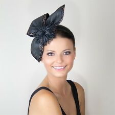 NEW Ladies Black Animal Print Formal Racing Wedding Hat Fascinator Headband