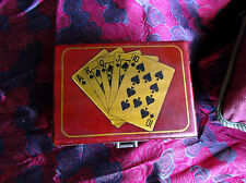 Vintage Asian Card Game Box, Painted Leather, Brass Appliques, no lock
