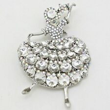 """3"""" Dual Brooch Pendant Jewelry Clear Crystals Dancing Girl 2"""" x"""