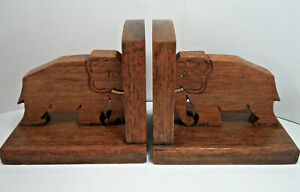Pair of Vintage Wooden Bookends With Carved Elephants Hardwood Carved Ornamental