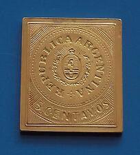 Plaqué or 8.52 G argent TIMBRE LINGOT ARGENTINA ARGENTINE AMERIQUE DU SUD 5 Cents