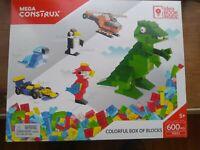Mattel Mega Construx Colorful 600 Blocks Pieces Brick Building Set