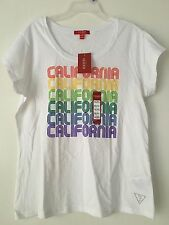 GUESS WOMEN'S ROUND NECK WHITE WITH CALIFORNIA REPEAT DESIGN T-SHIRT SIZE XL/TG