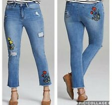 Womens SimplyBe Denim Jeans Plus Size 20 Evie Skinny Floral Embroidered Ankle