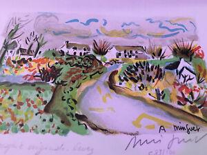 Vintage Alexandre Minguet Original Signed Numbered Cityscape Stream Lithograph