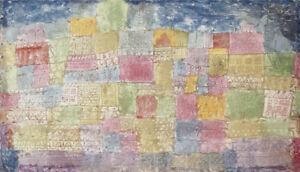 ENTRANCING PASTEL patchwork ON CANVAS! Colourful Landscape pink blue PAUL KLEE