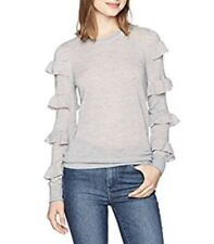REBECCA TAYLOR Striped  Ruffle  Long Sleeve Sweater Top Size M NEW