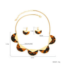 NEW Tortoise Shell Necklace & Gold Fan Necklace & Earring SET Gold Plated