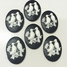 6pcs Vintage Happy Bird convex Cameo oval resin flatback scrapbook for craft·