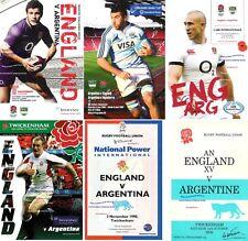 More details for england v argentina rugby programmes 1978 1990 1996 2006 2009 2013