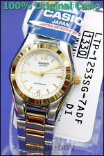 LTP-1253SG-7A Gold White Casio Stainless Steel Band Ladies Watches Brand-New