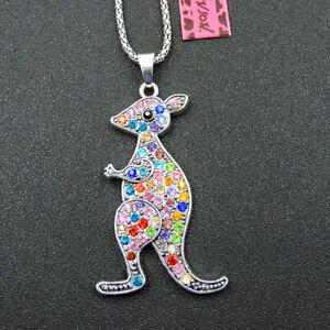 New Multi-Color Crystal Rhinestone Cute Kangaroo Pendant Betsey Johnson Necklace