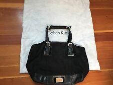 calvin klein black linen & leather shoulderbag handbag purse large dustbag