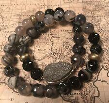 Silpada B3077 SS Brass Druzy, Hematite Ode to Geode Stretch Bracelet NEW Was $84