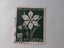 SUISSE SCHWEIZ, 1946, timbre 434, FLEURS, NARCISSE, FLORE, FLOWERS, oblitéré