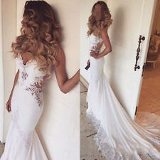 Sexy Backless Bridal Gowns Mermaid Wedding Dresses Custom Size 4 6 8 10 12 14 16