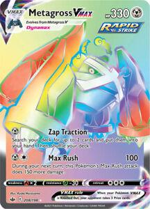 Pokemon TCG Metagross VMAX Card Chilling Reign 208/198 English Rainbow Holo MInt