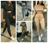Women Spring Summer 2Pcs Tracksuit Tops Pants Set Ladies Lounge Wear Casual Suit