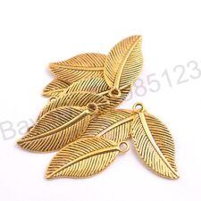 Wholesale Tibetan Silver Leaf Shape Charms Pendants 27.5X12MM 3144
