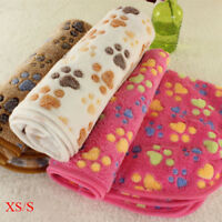 Warm Pet Blanket Mat Paw Print Cat Dog Puppy Coral Fleece Soft Bed Cushion Quilt