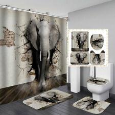 Creative Elephant Shower Curtain Bath Mat Toilet Cover Rug Funny Bathroom Set