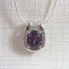 2.30ct Purple & White Cubic Zirconia 925 Sterling Silver Pendant & Chain