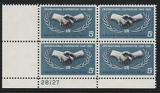 US Scott #1266, Plate Block #28127 1965 Cooperation 5c FVF MNH Lower Left