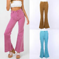 Women High Waist Corduroy Wide-leg Pants Slim Casual Trousers Flared Bottoms CA