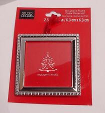 "New Square ORNAMENT PICTURE FRAME Christmas Silver Color  Fit Photo 2.5""W x2.5""H"