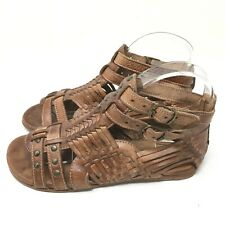 BED-STU Women's Casual Leather Buckle Caramel Gladiator Sandals Size 6.5