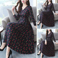 Women Casual Autumn Long Sleeve V Neck Floral Print A Line Pleated Swing Dress